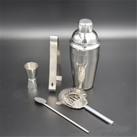 Wholesale Stainless Steel Shaker Five Piece Set Sieve Shaker Cocktail Shaker Clip Ice strainer Measuring Cup Spoon Home Bar Tools Bartending Tools