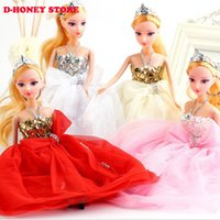 best interactive dolls - 30cm Princess Doll New handmake wedding Dress Fashion Clothing Gown For Barbie Hot Dolls Accessories Best Gift