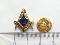 masonic - 100pcs Factory Free Masonry Masonic Lapel Pin Badge and Brooches for Freemason Gold Plating Butterfly Clutch