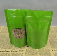 Wholesale 11 cm Green stand Up ziplock plastic bag with window Stand up pouches Self adhesive poly bag