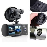 Wholesale Dual Camera Car DVR with GPS and D G Sensor quot TFT LCD X3000 R300 HD P Cam Video Camcorder Cycle Recording Digital Zoom dvr mirror hd
