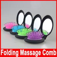 Airbag cepillo plegable portátil de masaje peine Mini Ronda de masaje plegable peine con el espejo de las nuevas muchachas del viaje del pelo 2016