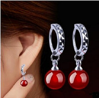 agate red mosaic - Natural red Black Agate Sterling Silver Mosaic zircon Earrings Designed for elegant Women pearl Jewelry Gift box Factory price sale