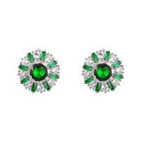 Wholesale emotional appeal genuine white gold plated ear stud with green diamond