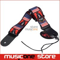 american flag picks - New American USA Flag print Genuine leather ends Adjustable Acoustic Guitar Strap bass WITH PICK HOLDER