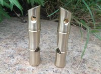 Cheap Bamboo shape EDC polished brass whistle wild emergency survival high decibel metal whistle life saving outdoor gadgets