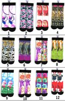 basketball food - 50 styles D ODD printing socks Children women men hip hop socks cotton Basketball socks Animal food flowers socks DHL shipping C882