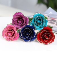 Wholesale Single k Gold Long Stem Dipped Real Trim Rose Fine Gift Present For Lover Red