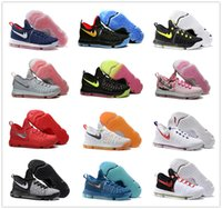 Wholesale 2016 Air Zoom KD IX Mens Basketball Shoes Oreo Grey Wolf Kevin Durant s KD9 Men s Training Sports Sneakers Warriors Home Size