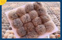 Wholesale natural color Rabbit Fur pompom CM for Beanies hats cap keychain bags natural fur balls real natural fur pom poms on sale