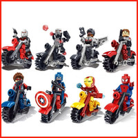 Wholesale Avengers Iron man Captain America motorcycle Knight Mini figures Building Block toy DIY Puzzle Doll educational toy for Children gift