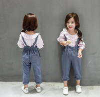 american schools - 2016 kids clothes girls Autumn Children Girls Long Shirt Suspender Pants Set Kids Overalls School Style Girls Outfits Clothing