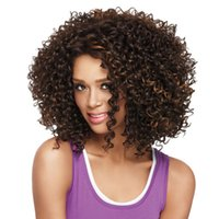 Wholesale African american wigs synthetic short afro kinky curly hair wigs for black women sexy good quality medium length synthetic hair