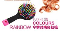 Wholesale Pretty rainbow unknotted Hot selling popular Detangling Hair Brush static electricity resistant portable comb w mirror handle