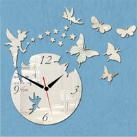 Wholesale Hot Angel and Butterfly Acrylic wall clock d sitting room decoration mirror crystal Quartz watch handcraft clock for family