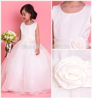 Wholesale A line Scoop Handmade Flower Organza Floor Length First Communion Dresses Flower Girl Dresses
