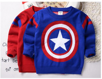 autumn heat - 2016 Autumn And Winter Baby Boy Clothes Captain America Sweaters Pullover Double Layer Heat Preservation Baby Clothe