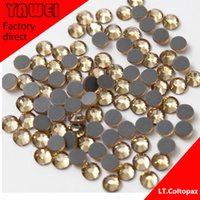 Wholesale LT COL TOPAZ crystal Hot drilling Rhinestones Flatback Round gross in a Nail Art Hot Fix Shoes Rhinestones