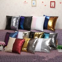 Wholesale Mermaid Bright Pillow Case cover Double Sequin Glamour Square Pillow Case Cushion Cover Home Sofa Car Decor cm