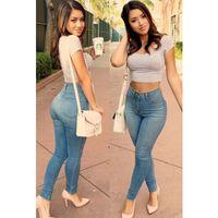 Wholesale 2016 New Fashion Jeans Women Pencil Pants High Waist Light Blue Classic High Waist Skinny Jeans