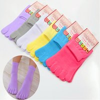Wholesale Cute Toe Socks For Women - 2016 Fashion Cute Candy Color 100% High Quality Cotton Toe Socks Funny Womens Five Toe Sock For Girls Calcetines Meias Feminina KK