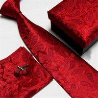 Revisiones Corbatas de seda-Lazo clásico del cuello de Paisley y sistema cuadrado del Hankie del bolsillo Lazos formales de la seda del partido de boda formal Lazos cuadrados del lazo de Cravat del bolsillo