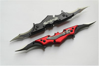 batman blades - Red and Black Batman Two Dual Bladed Knife double action The Dark Knight HRC surface Titanium finish blade knife survival knives