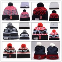 bamboo baseball cap - New Boston Red Sox Baseball Beanies Winter Warm Cuffed Pom Beanie Boston Beanies Skullies Embroidered Team logo Knit Wool Hat