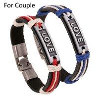 Wholesale Punk Style Couple Leather Bangle Bracelet Women Casual Fashion LOVE Pattern Rope Charm Barcelets Bangles Men Pulseras JW5004