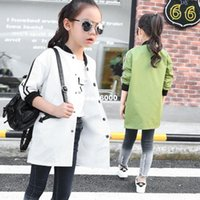 Wholesale 2016 girls baseball coat striped long sleeved jacket in the spring and autumn Korean children long shirts factory direct