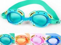 Wholesale High quality Boys and girls Waterproof Fog swimming goggles cartoon crabChildren learn swimming glasses
