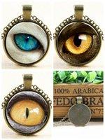 Wholesale 2016 Unisex Retro Sweater chain Evil Pupil Glass Cabochon Necklace Time Gem Cabochon Antique Bronze Jewelry Pendants Animal eyes Necklace