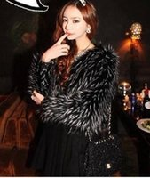Wholesale Clubbing Girl Korean - 2016 Korean Office New Sexy Girl Club Wear Jackets Black White Pattern Faux Fur All-match Short Coat Outerwear Winter Fall YR83