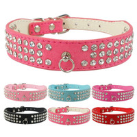 Wholesale Colors Mixed Brand New suede Leather Dog Collars Rows Rhinestone Dog collar diamante Cute Pet Collars Sizes available