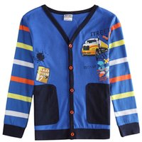 Wholesale NOVA NEWLY Boys long sleeved T shirt spring and fall car affixed cloth embroidery cotton baby clothes baby jacket
