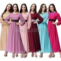 arab ladies dress - Arab Turkish women clothing muslim abaya dress Islamic vestidos longo lady jilbabs and abayas Elastic waist long sleeve Dresses Dubai kaftan