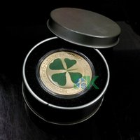 art republic - 5 the symbol of lucky Four Leaf Clover Coin Republic of Palau gold plated coin not include the metal box