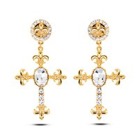 allergy charms - Europe and America trend new design set crystal cross studs earrings real gold plated allergy free earrings women fashion jewelry