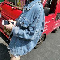 Wholesale New Jean Jacket Retro Bf Wind Female Denim Jacket Coats Loose Chaquetas Mujer Long Sleeved Blouson Femme Plus Size Casacos