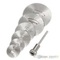 Wholesale 7Pcs HSS Rotary Tools Circular Saw Blades Cutting Discs Mandrel Cutoff Cutter Power tools multitool ON7 OP8
