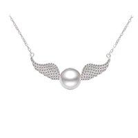 Solid Sterling Silver Angel Wings Collier, bijoux Angel avec une seule nature Perle d'eau douce 10MM, collier en argent à gros PS03906