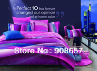 Wholesale 500TC abstract design purple blue pink omber discount cotton bed linen D bedding set duvet cover for full queen comforter quilt