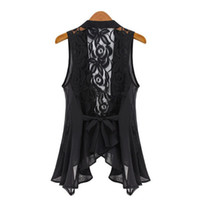 Wholesale Hot sale Women SUMMER vest close sleeveless sexy Outerwear amp Coats Natural Hollow Out lace women fashion clothes G803
