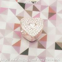 2016 Nuevo corazón plateado oro de Rose de la plata esterlina 925 con el encanto claro de Cz para el estilo europeo DF379 de las pulseras famosas de la marca DIY pandora