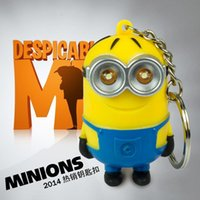 Wholesale Despicable Me Cute Minion LED Keychain Key Chain Ring Flashlight Torch Sound Toy Promotion Novelty Gift Lover children gift P HOT9