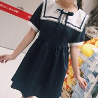 Wholesale summer short sleeve stripe bowknot Lolita cosplay uniform