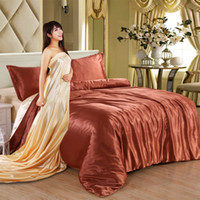 silk sheets - 2016 New Style Pure Satin Silk Bedding Sets King Size Bed Set Bedclothes Duvet Cover Flat Sheet Pillowcases