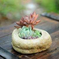 Wholesale Factory imitation stone cement pots succulents potted flowers simple thick stone texture flowerpot