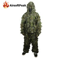 Wholesale D Leaf Camouflage Hunting Camo Tactical Ghillie Suit Disguise Uniform Set Military Army Jungle Birding Outdoor Coveralls