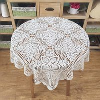 Wholesale New crochet pattern square table cover Vintage style tablecloth square Chic pattern table topper for home decor x34 quot inches square